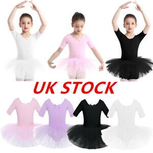 UK-Girls-Ballet-Dance-Dress-Kid-Gymnastics-Half-Sleeves-Leotard-Skirts-Dancewear