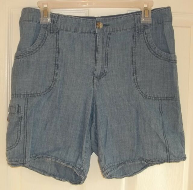 e0a8d0ccb9 Womens WHITE STAG Denim SHORTS~size 12~NEW~Blue Jeans Pair~ELASTIC ...