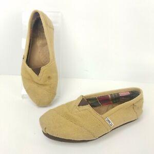 Toms-Bimini-Burlap-Hemp-Flats-Slip-On-Boat-Shoes-Tan-Tweed-Wrap-Style-Size-7-5