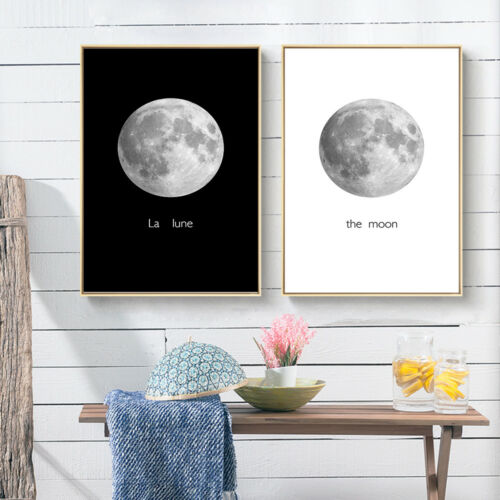 Abstract Moon Canvas Poster Art Picture Prints Wall Home Decor