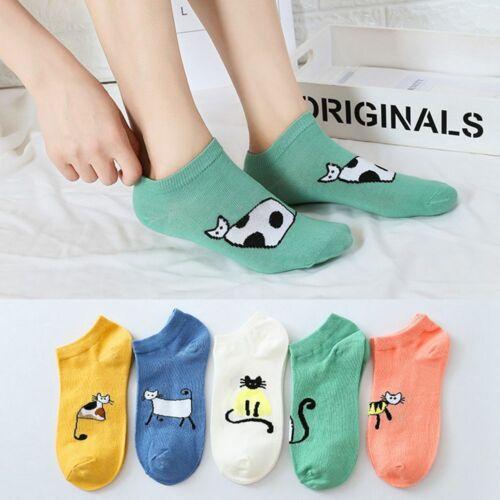 Women Creative Cotton Invisible Sock Cartoon Cat Pattern Non-Slip Boat Socks AU