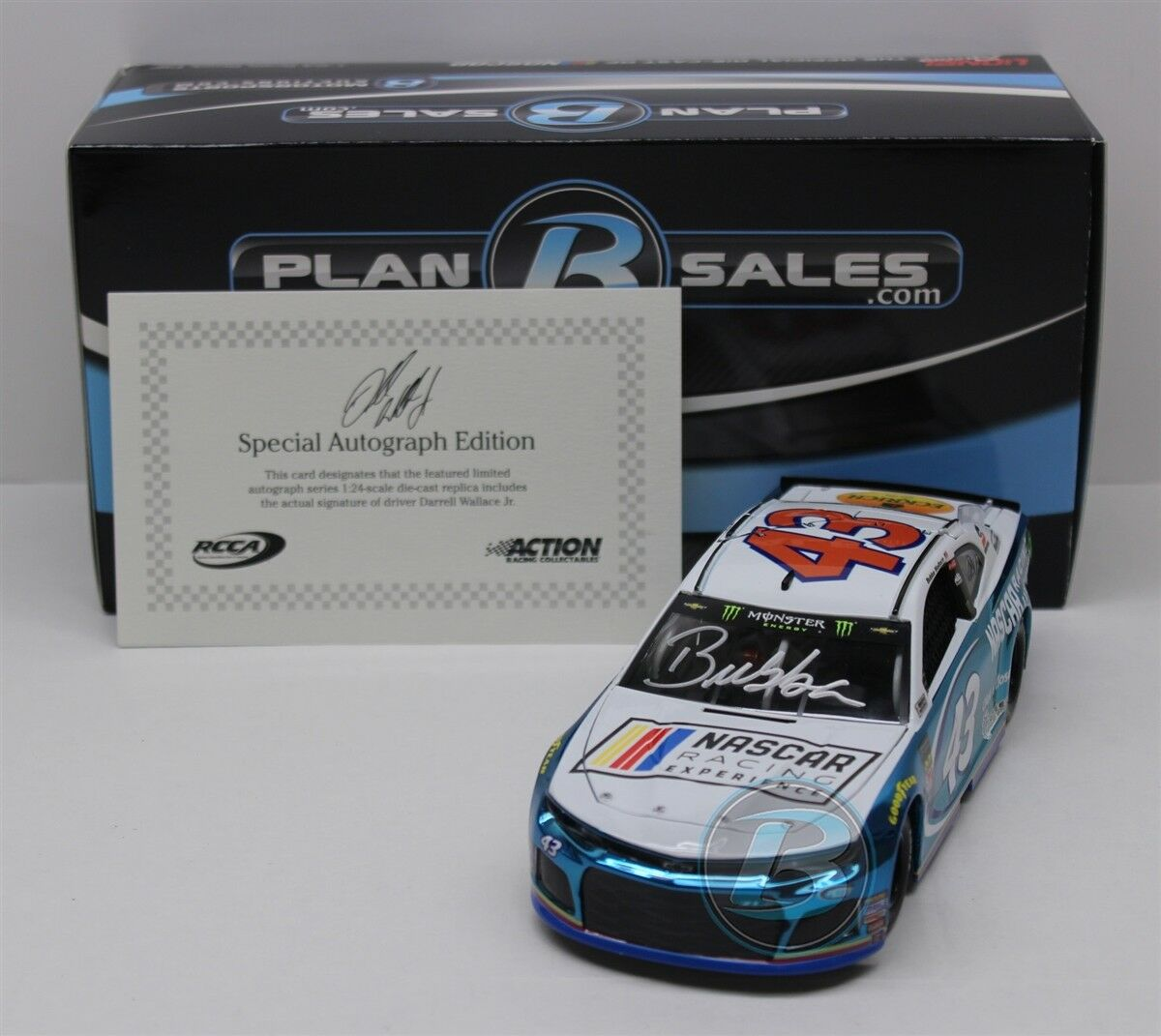 BUBBA WALLACE  43 2018 AUTOGRAPHED NASCAR RACING EXPERIENCE Coloreee CHROME 1 24