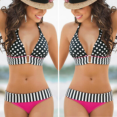 Sexy Womens Swimwear Bikini Set Bandeau Push-Up Bra Padded Swimsuit Beachwear