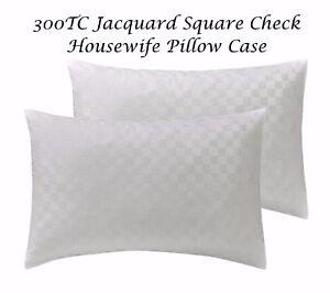 300TC-Luxury-Jacquard-Square-Check-Housewife-Pillow-Case-Pair-100-COTTON