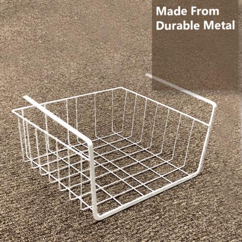 White Under Shelf Storage Basket Table Rack Kitchen Metal Wire Mesh Cabinet