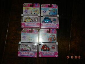 lot-of-4-Shopkins-Cutie-Cars-HAT-ROD-egg-cart-zoomy-noodles-gumball-go-cart-Mini