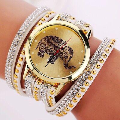 Lady Charm Faux Leather Rivet Wrap Bracelet Elephant Analog Quartz Wrist Watch