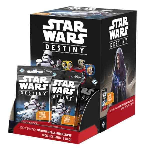 Star Wars Destiny, Spirito della Ribellione SoR Rare e Leggendarie, Carta+Dado