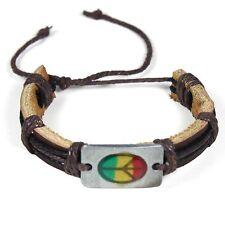 Rasta Leather Peace Sign Bracelet Friendship Bracelet Hippie Hobo Reggae PEACE