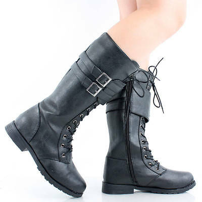 Womens Military Boots Combat Shoes Flat Heels Motorcycle Lace Up Biker Army Moto