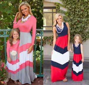 Mother-and-Daughter-Casual-Boho-Stripe-Maxi-Dress-Mommy-amp-Me-Matching-Outfits-33