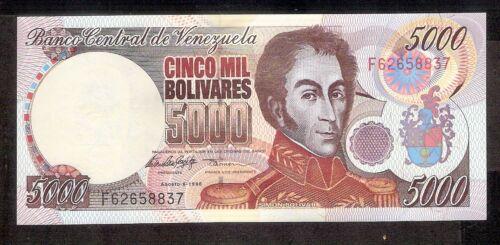 Venezuela UNC Note 5000 Bolivares Bs August 1998 P-78c Prefix F8