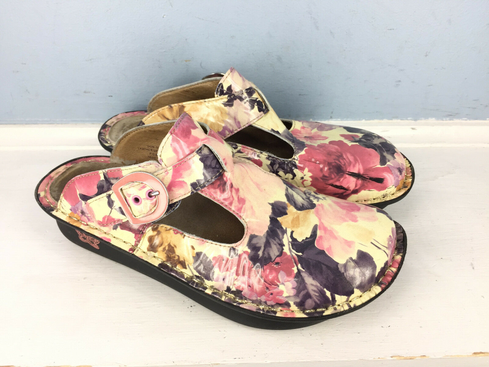 Alegria 37 37 37 US 6.5 7 Pink Purple Ivory Patent Leather Mules Clogs Professional a8d580