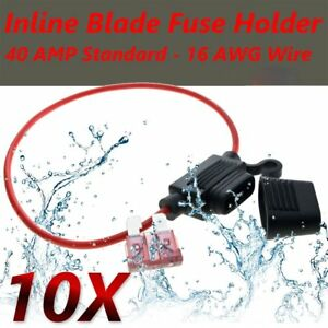 10X-16AWG-Gauge-WATERPROOF-Standard-BLADE-INLINE-FUSE-HOLDER-CAR-AUTO-TRUCK