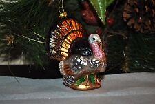"NEW TURKEY FARM BIRD Christmas/Holiday/Thanksgiving Glass Blown Ornament  4"""