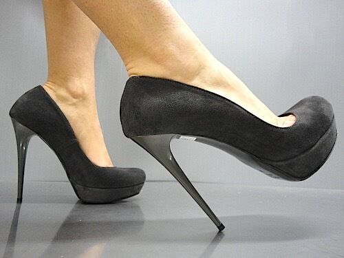 Descuento barato MORI ITALY PLATFORM HIGH HEEL PUMPS SCHUHE SHOES SUEDE LEATHER GREY GRIGIO 37