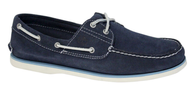 Timberland Classic 2 Eye Mens Boat Deck Shoes Navy Blue Suede 6169A T1