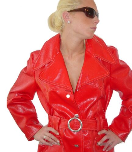Red Vintage 60s Mod PVC Wet Look Trench Coat w Fau