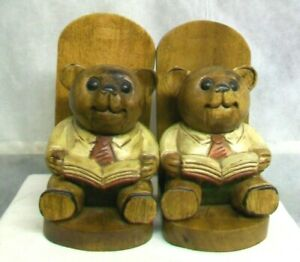 AC-WO-VINTAGE-HAND-CARVED-SOLID-WOOD-WOODEN-034-STORYTIME-034-TEDDY-BEAR-BOOKENDS