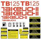 TB125 Decals TB125 Stickers Takeuchi Sticker Kit Mini Excavator Decal Set