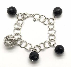 Vintage Oxidized Sterling Silver 925 Black Onyx Ball Petite Charm Pendant