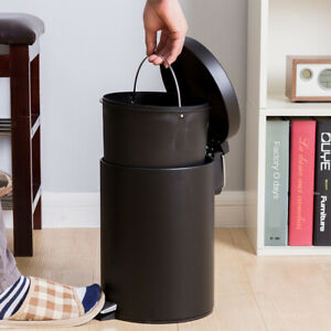 7L Round Metal Step Trash Can with Lid & Lifting Handle ...