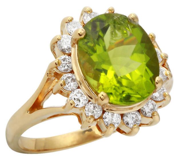 4.80 Carat Natural Peridot 14K Solid Yellow Gold Diamond Ring
