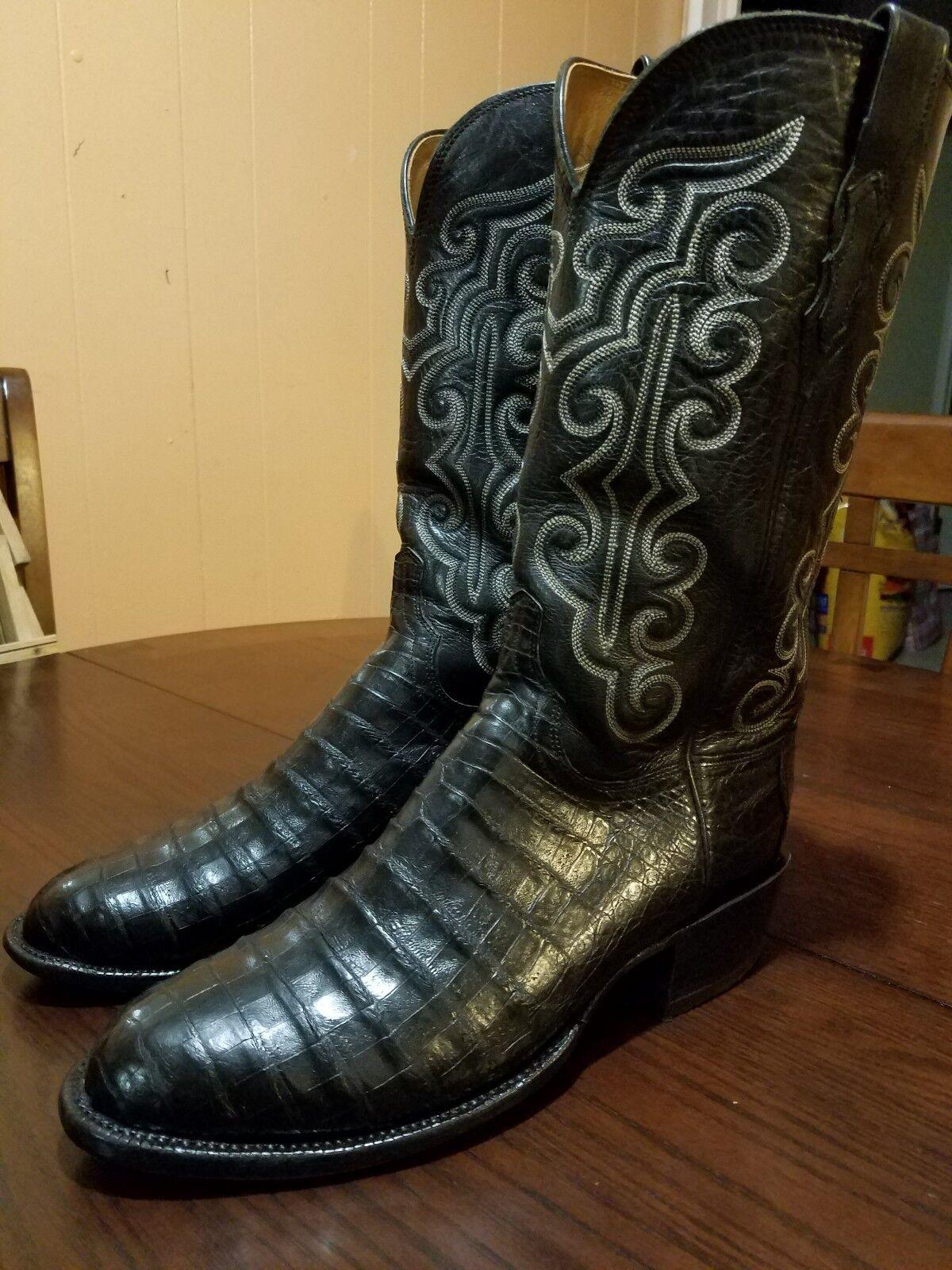Lucchese 1883 Negro Ultra vientre Caiman Western Cowboy botas E