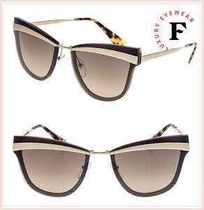 6965016bbf62 PRADA CINEMA Cat Eye Metal Sunglasses 12U Gold Havana Brown Gradient ...