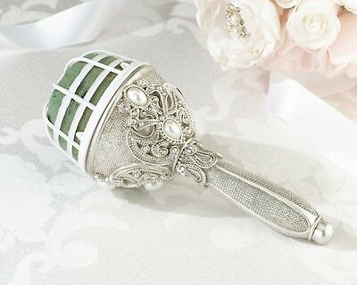 Jeweled Bouquet Holder Bride Wedding DIY Vintage Style Silver Resin Reception