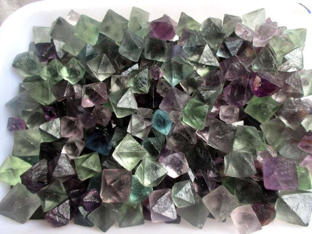 500g AAAA+++ Natural beautiful Fluorite Crystal Octahedrons Rock Specimen China