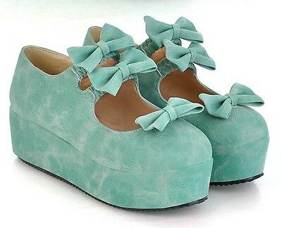 Ladies Round Toe Sweet Dolly Bows Platform Flat Pumps Casual Lolita Shoes #021