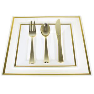 Image is loading Bulk-Dinner-Wedding-Disposable-Plastic-Square-Plates- silverware-  sc 1 st  eBay & BulkDinner/Wedding Disposable Plastic Square Plates silverware ...