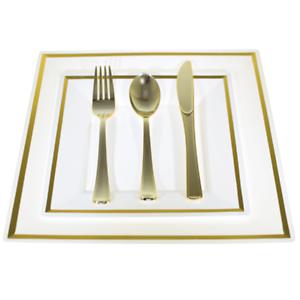 silver//gold rim Bulk,Dinner//Wedding Disposable Plastic Square Plates silverware