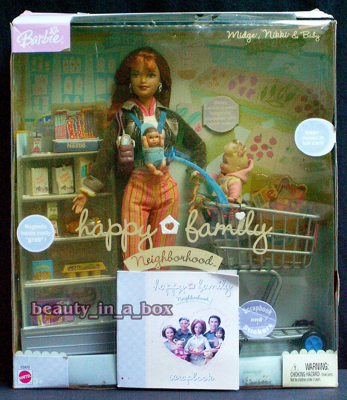 Cecidomia de la familia feliz Nikki y Bebé Carrito de compras de Diversión Conjunto de Juego Muñeca Barbie CC