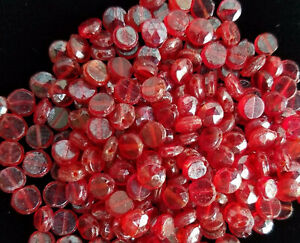 212-Handmade-Czech-glass-BEADS-CHERRY-RED-1920s-VINTAGE-faceted-disc-nailhead