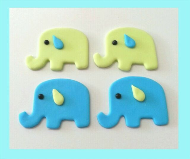 12 edible baby elephant cake cupcake topper baby shower christening birthday