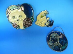 Vintage-Lot-of-3-Cats-Art-Stained-Glass-Fused-Suncatcher-Window-Hanging