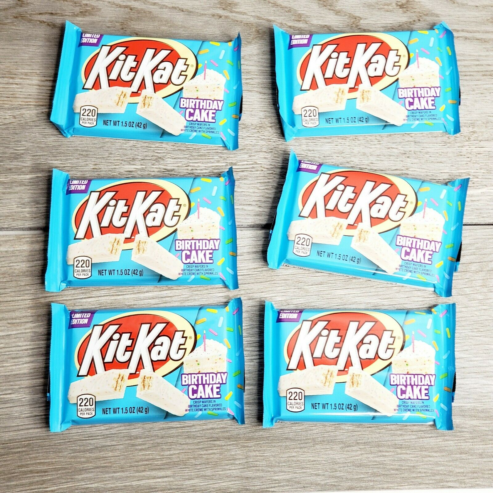 Astounding Lot Of 6 Kit Kat Birthday Cake Bars 1 5 Oz Limited Edition Funny Birthday Cards Online Fluifree Goldxyz