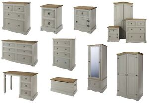 Details about Premium Corona Grey Washed Bedroom Furniture - Bedside  Drawers Wardrobe Storage
