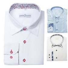 Mens Designer Italian Formal Slim Fit Dress Shirt Paisley Contrast Collar M L XL