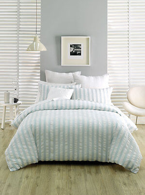 Deco by Linen House Queen Quilt Cover Set Euros Cush Cover Ashton blue white