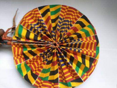 Kente African Print Kente Hand Made Fabric Folding Hand Held Fans Party Wedding