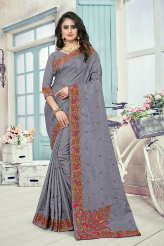 Designer Grey Kashmiri Resham Embroidery Bollywood Sari Silk Party Wear Saree