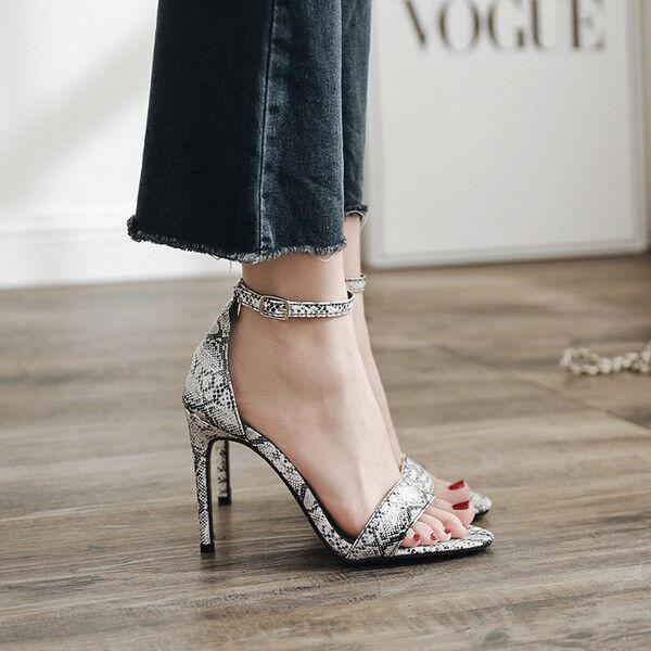 Sandale stiletto spillo 12 cm animalier simil pelle comodi eleganti  9626