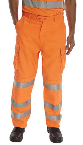 Hi Viz Alto Vis Pantaloni Arancione//Giallo Lavoro Pantaloni rivestito di teflon RIS 3279 Tom