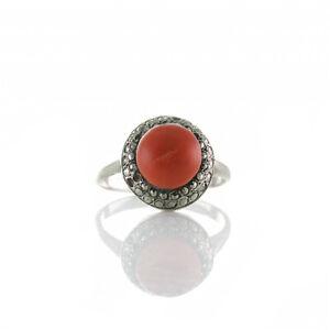 Wunderschöner Vintage Ring Silber 835er o. 925 mit Koralle & Markasiten, um 1960