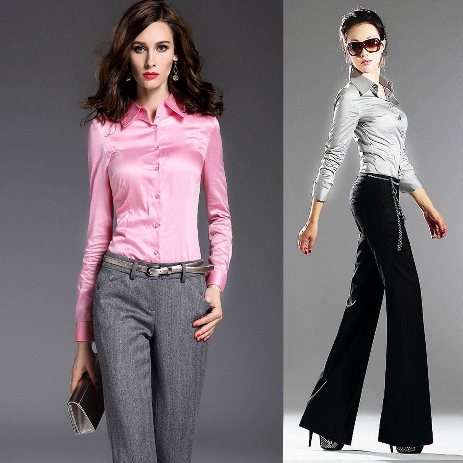 Womens 19momme 100 Mulberry Silk Business Dress Shirts