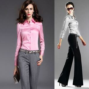 28898a6ebdeb0f Image is loading Womens-19Momme-100-Mulberry-Silk-Business-Dress-Shirts-