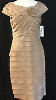 Lizzatti Womens Dress Formal Short Mother Of The Bride Beige Pleated Size 6